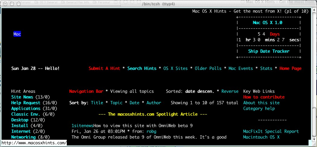 The 'links' text browser and why you might want it - Mac OS X Hints